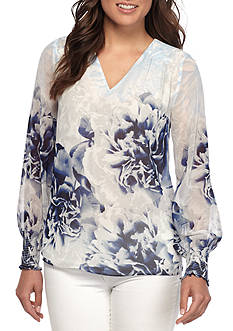Calvin Klein Long Sleeve Printed Peasant Top