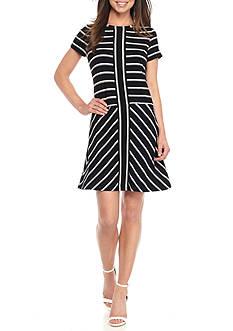 Calvin Klein Short Sleeve Striped T-Shirt Dress