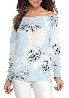 Calvin Klein Printed Off the Shoulder Smocked Top