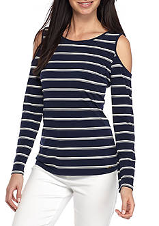 Calvin Klein Cold Shoulder Striped Top