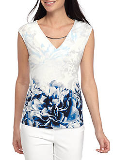 Calvin Klein Printed Sleeveless Top with Hardware