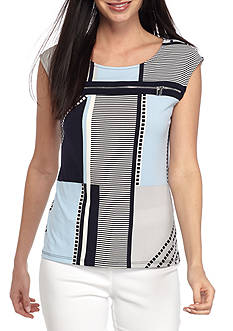 Calvin Klein All Over Printed Zipper Top