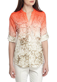 Calvin Klein Ombre Print Roll Sleeve Blouse