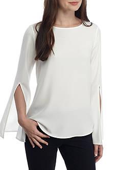 Calvin Klein Solid Split Bell Sleeve Blouse