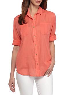 Calvin Klein Crinkle Voile Roll Tab Sleeve Top