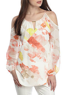 Calvin Klein Printed Chiffon Cold Shoulder Blouse