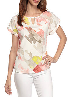 Calvin Klein Short Sleeved Printed Blouse with Hardware