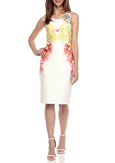 Calvin Klein Printed Scuba Sheath Dress
