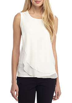 Calvin Klein Sleeveless Knit With Chiffon Overlay