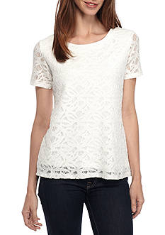 Calvin Klein Short Sleeve Lace Top