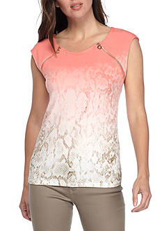 Calvin Klein Sleeveless Ombre Knit Top With Zipper Detail
