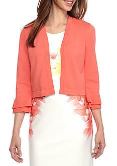 Calvin Klein Open Shrug with Ruffle Sleeves