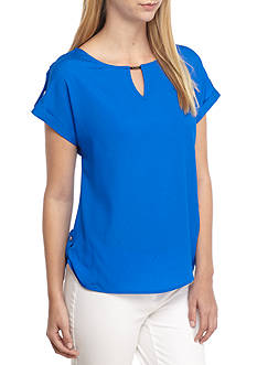 Calvin Klein Short Sleeve Solid Top With Bar Hardware