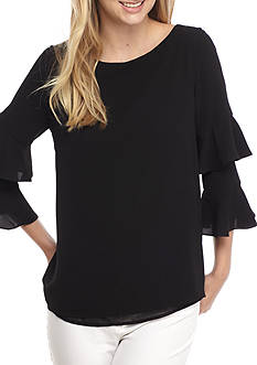 Calvin Klein Crinkle Tiered Ruffle Sleeve Blouse