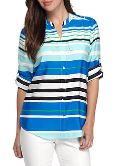Calvin Klein Stripe Printed Shirt with Roll Sleeves
