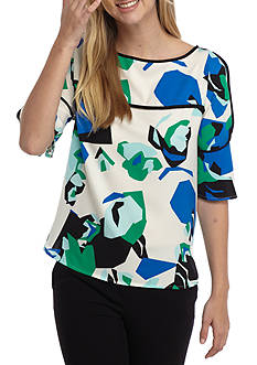 Calvin Klein Piped Top With Ruffle Sleeves