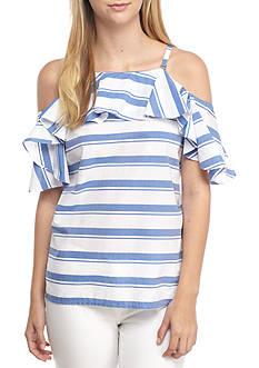 Calvin Klein Poplin Stripe With Ruffle Sleeves Top