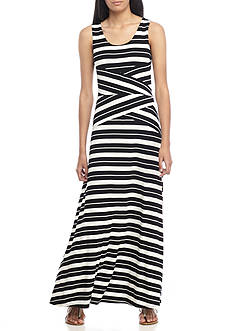 Calvin Klein Stripe Crisscross Tank Maxi