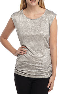 Calvin Klein Sleeveless Metallic Knit Top