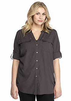 Calvin Klein Plus Size V-Neck Roll Tab Sleeve Top