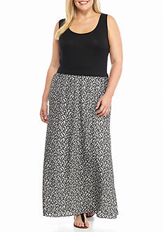 Calvin Klein Plus Size Leaf Print Maxi Dress