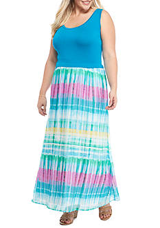 Calvin Klein Plus Size Maxi Dress with Chiffon Bottom