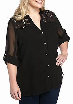 Calvin Klein Plus Size Roll Sleeve Blouse with Lace Yoke