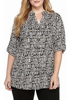 Calvin Klein Plus Size Roll Tab Printed Top