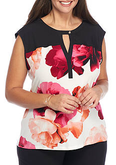 Calvin Klein Plus Size Floral Split Neck