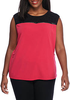 Calvin Klein Plus Size Mix Media Keyhole Blouse