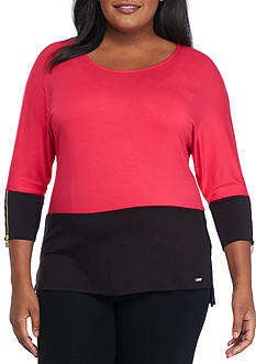 Calvin Klein Plus Size Dolman Colorblock Zipper Sleeve Top