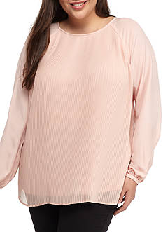 Calvin Klein Plus Size Long Sleeve Casual Lightweight Blouse