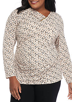 Calvin Klein Plus Size Long Sleeve V Neck With Gold Bar