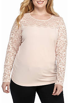 Calvin Klein Women's Plus Lace Blush Blouse
