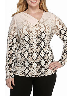 Calvin Klein Plus Size Printed V-neck With Gold Bar Knit Top