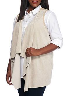 Calvin Klein Faux Suede Drape Vest