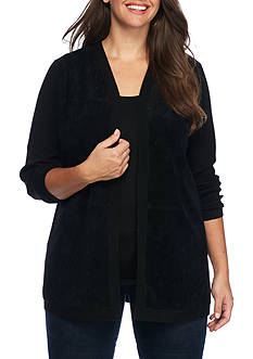 Calvin Klein Plus Size Long Sleeve Faux Suede Front Cardigan