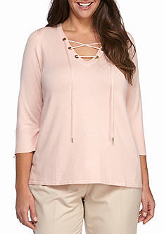 Calvin Klein Plus Size Three Quarter Sleeve Lace Up Sweater