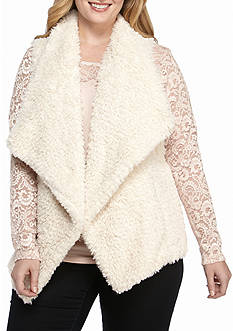 Calvin Klein Women's Short Hair Soft White Faux Fur Vest
