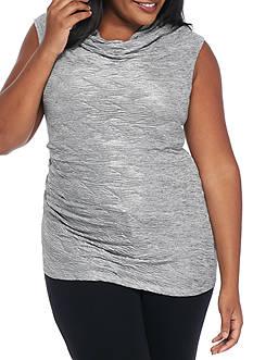 Calvin Klein Plus Size Cap Sleeve Metallic Cowl Neck Top