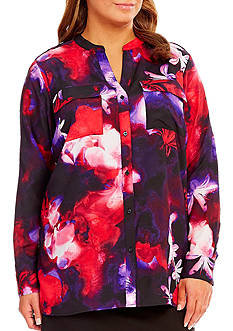 Calvin Klein Plus Size Printed Roll Sleeve Woven Top