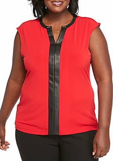 Calvin Klein Plus Size Y-Neck with Chain Sleeveless Top