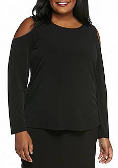 Calvin Klein Plus Size Long Sleeve Cold Shoulder Top