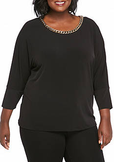Calvin Klein Plus Size Three-quarter Sleeve With Gold Chain Knit Top
