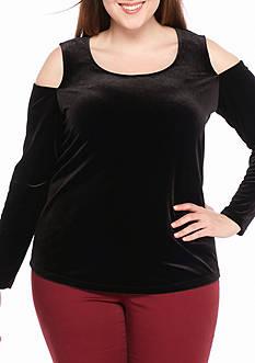Calvin Klein Plus Size Velvet Cold Shoulder Top