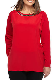 Calvin Klein Plus Size Embellished Neck Sweater