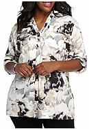 Calvin Klein Plus-Size Printed Roll-Tab Sleeve Top