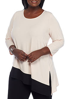 Calvin Klein Plus Size Knit Double Layer Angled Top