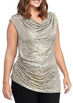 Calvin Klein Women's Plus Sleeveless Top with Angle Bottom