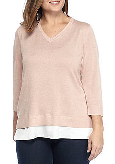 Calvin Klein Plus Size V-Neck With Woven Hem Sweater